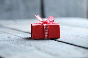 gift idea, a box with a ribbon lies