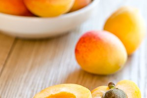 Apricots on the wooden table
