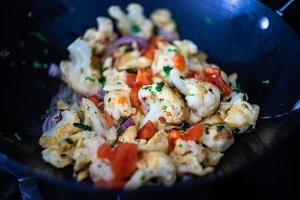 Organic vegetables in wok