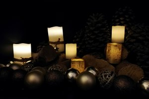 warm golden and dark christmas card