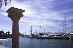 Harbor with elegant yachts and