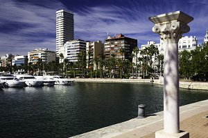 Modern European city, marina