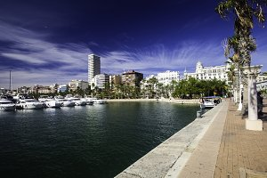 Wide promenade in the harbor with