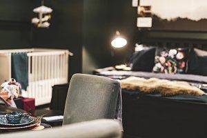 dark trendy home bedroom interior de