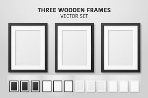 Three Wooden Frames. Vector Set.