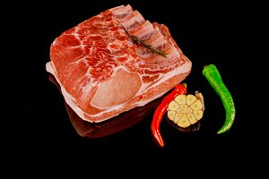 Raw pork ribs with ingredients