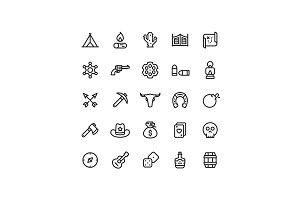 Wild West Line Icons