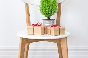 Presents and little green tree on a