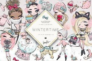 Winter Girls Clipart