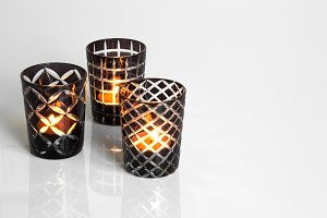 Tealights in glass candleholders