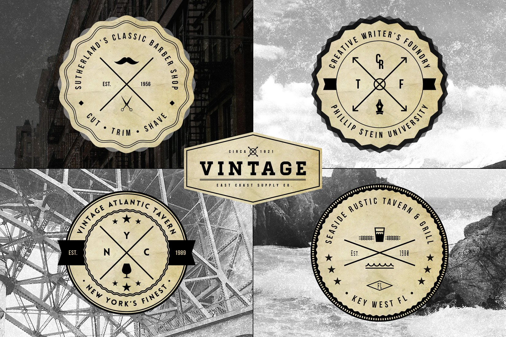 vintage logo badge templates logo templates creative market. Black Bedroom Furniture Sets. Home Design Ideas