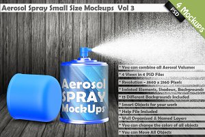 Aerosol Spray Can Mockup Vol 3