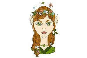 Vector, portrait of girl elf