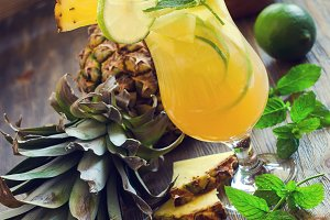 Pineapple refreshing cocktail drink