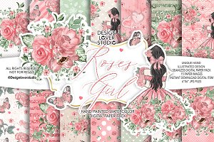 -50%Roses Girl digital paper pack