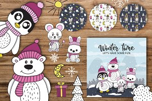 winter / party animals + patterns