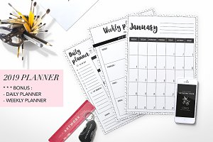 2019 planner, 2019 monthly planner