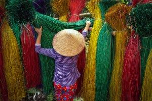 Back side of Vietnamese female craft