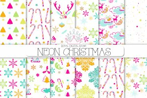 NEON CHRISTMAS digital paper