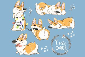 Cute Corgy Clipart Set1