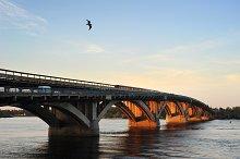 Metro bridge at sunset. Kiev,Ukraine