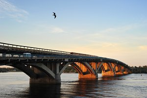 Metro bridge at sunset. Kiev,Ukraine