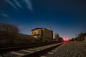 Long exposure railway night scene
