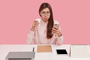 Upset brunette female office perfect