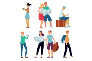 Vector traveling people character