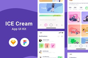 Ice Cream UI Kit Sketch & Figma
