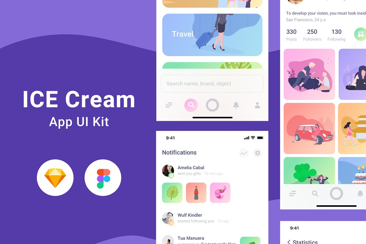 Ice Cream UI Kit Sketch & Figma ~ UI Kits and Libraries ~ Creative
