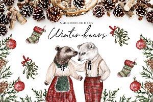 Watercolor Winter Bears