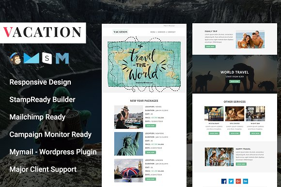 Vacation Responsive Email Template Email Templates Creative Market
