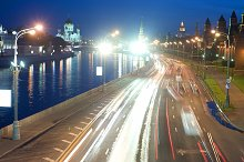 Moscow downtown night view