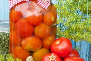 Homemade pickled tomatoes