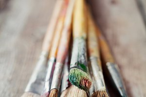 Old artist paint brushes