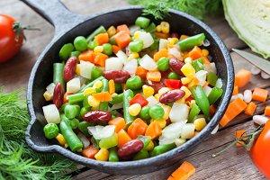 Vegetables in frying pan