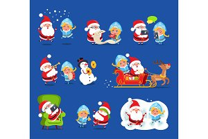 Claus and Snow Maiden Set Vector