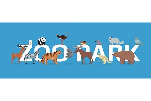 Zoo Park with Animals Banner