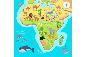 Africa Mainland Cartoon Map with