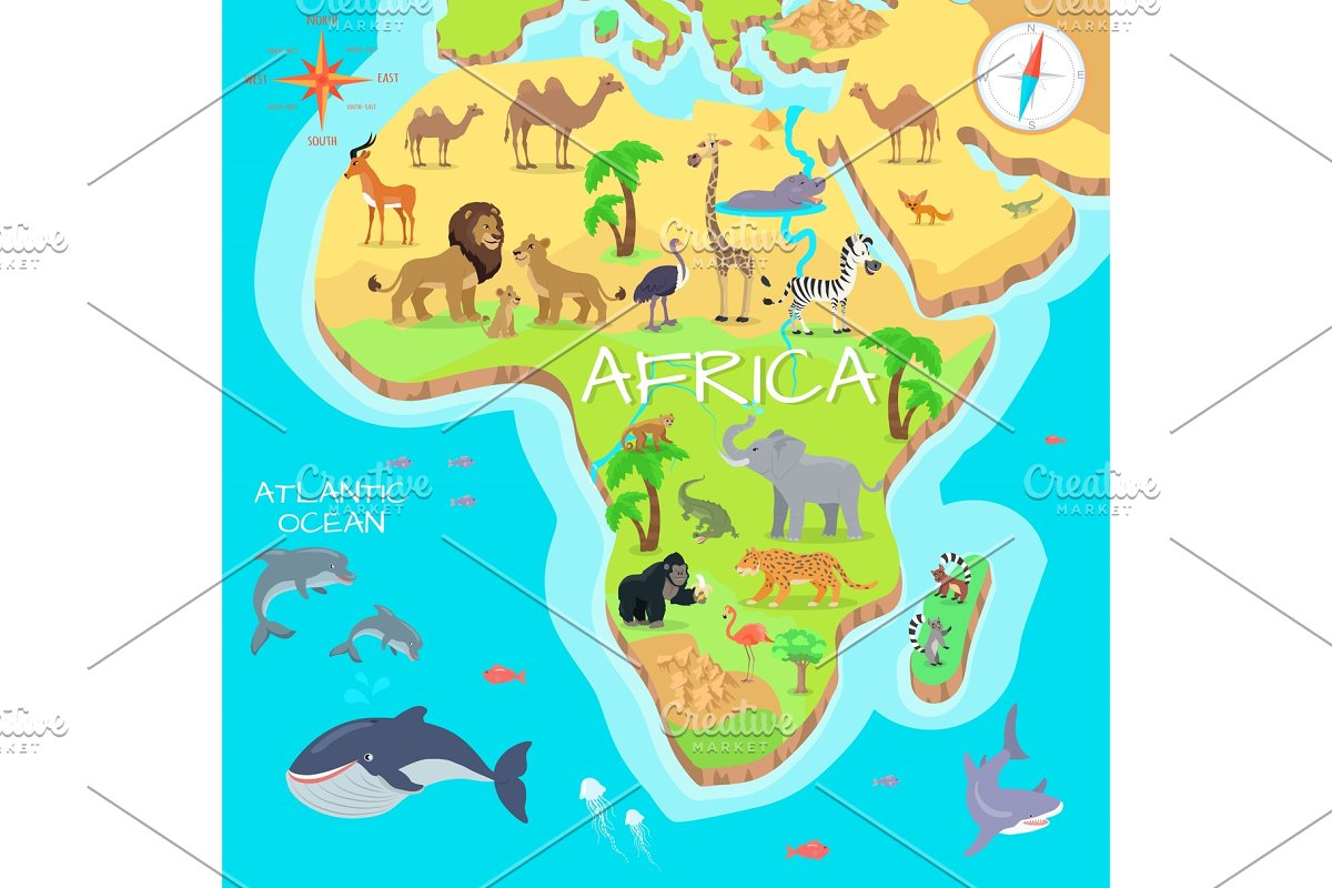 Map Of African Jungle.Africa Mainland Cartoon Map With Illustrations Creative Market