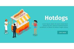 Hotdogs Conceptual Isometric Vector
