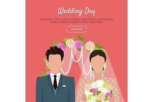 Wedding Day Web Banner. Newlyweds