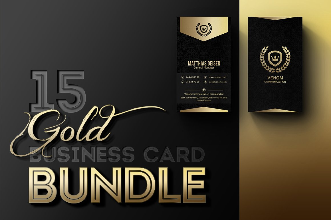 Gold business card bundle business card templates - Business name for interior design company ...