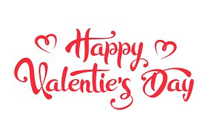 Happy Valentine's Day Lettering Text