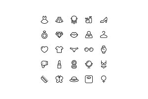 Lady Woman Line Icons