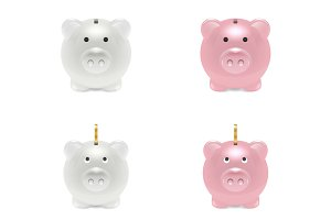 Piggy Bank. Vector Set.