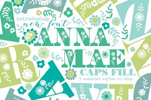 Anna Mea Floral Uppercase Font