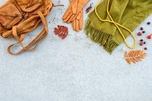 Autumn fashion flat lay
