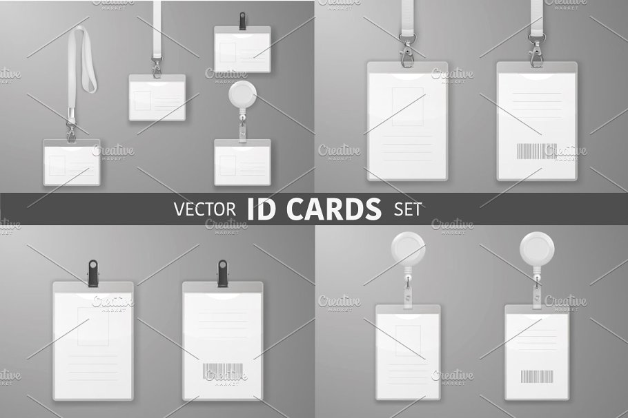 ID Cards. Vector Set.